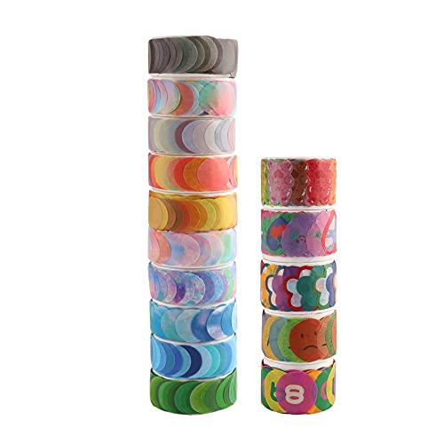 Furado Washi Tape Set,10 Rollen Dot Washi Tape Aufkleber mit 5 Rollen Cartoon Washi Tape Aufkleber 1500 StüCk Aufkleber 14 mm für DIY Scrapbooking Aufkleber Geschenk Dekoration Verpackung