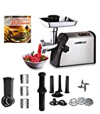 GoWISE USA 4-in-1 Heavy Duty Electric Meat Grinder and Food Processor, Vegetable Slicer, Sausage Maker, Kibbe Kit with 3 Cutting Plates, Stainless Steel Cutting Blade + Recipe Book, GW88011