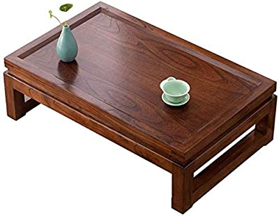 Selected Furniture/Coffee Table Side Table Solid Wood Japanese Tea Table Tatami Platform Low Table Creative Balcony Bay Window Table Simple Elm Table (Color : 60 * 40 * 25cm)
