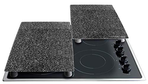 STONELINE® Herdabdeckplatten/Schneideplatten-Set aus schlagfestem und hitzebeständigem Glas, 2-teilig, 52 x 30 x 0,5 cm, mit auswechselbaren Füßen für Verschiedene Verwendungsmöglichkeiten