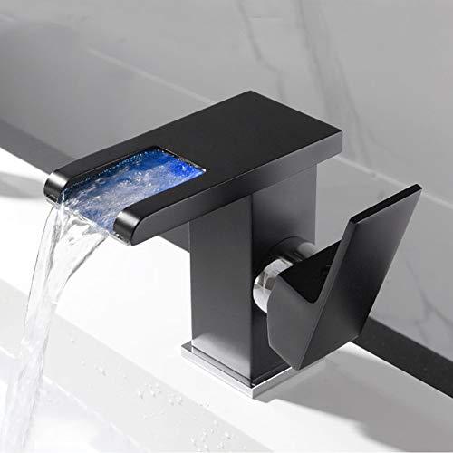 Joyiever Grifo del Lavabo del baño, manija Simple con Luces LED de Temperatura de 3 Colores, caño en Cascada, Grifo del Lavabo del baño, Negro