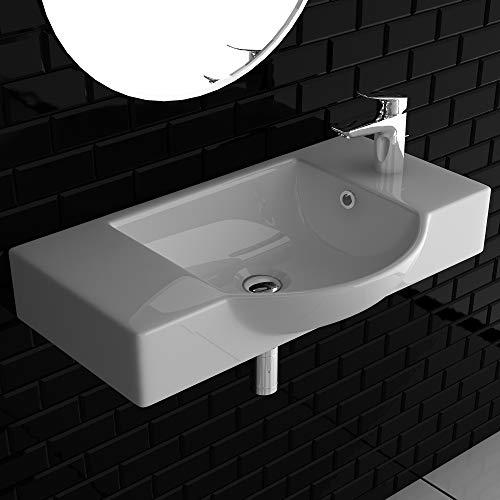 Alpenberger Handwaschbecken 55 cm | Schick im Miniformat | Waschbecken zur Wandmontage | Große Ablageflächen | Möbelwaschtisch & Handwaschbecken für Gäste-WC | Wandhängend & Aufliegend