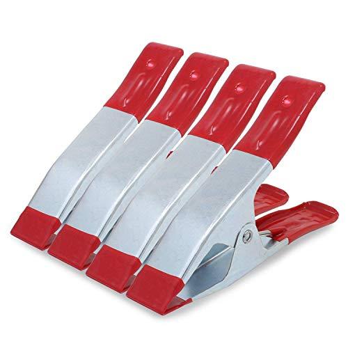 Xrten 4 PCS Morsetti a Molla in Metallo,Mini Pinze a Molla Punta di Metallo Primavera Morsetti per Il Telone da Campeggio