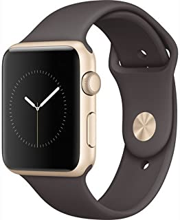 Apple Watch Series 1 Smartwatch 42mm Gold Aluminum Case, Cocoa Sport Band (Newest Model) (Renewed)