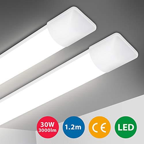 2er LED Deckenleuchte, Oeegoo 120cm LED Röhre Ultraslim, 30W 3000LM LED Deckenlampe Werkstattlampe Schrankleuchte Wannenleuchte, LED Lampe für Garage Keller Küche Bad Warenhaus Neutralweiß 4000K