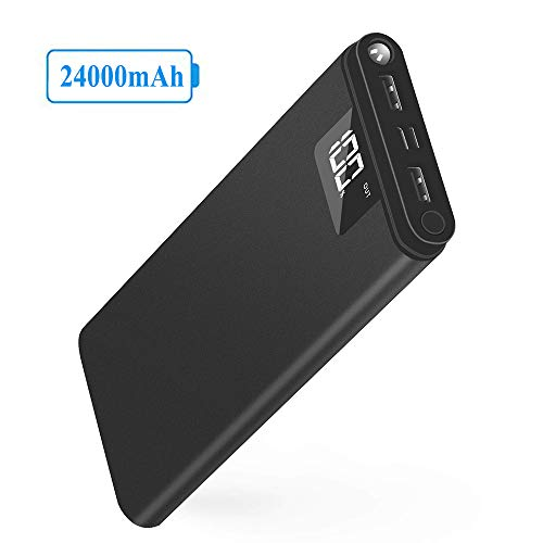 KREKCO Caricabatterie per Telefono Portatile 24000mah Power Bank Alta capacità Batteria Esterna Display Digitale LCD Carica di Uscita 2 USB per telefoni di Tutti i Tipi