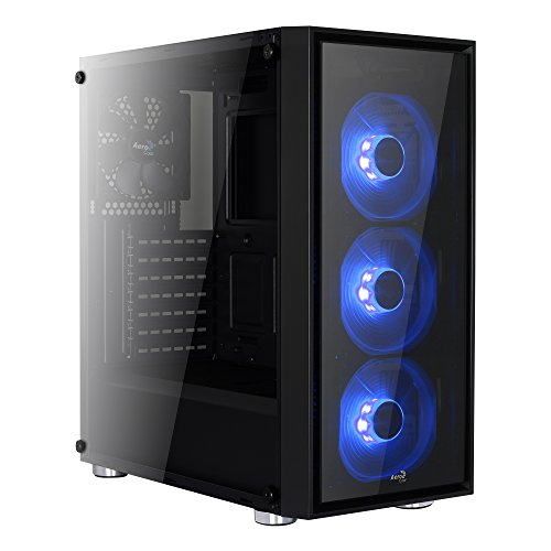 Aerocool EN57349 Advance Midi-Tower PC-Gehäuse (ATX, 3x 5,25 externe, 4x 3,5 interne, 2x USB 2.0) schwarz/blau