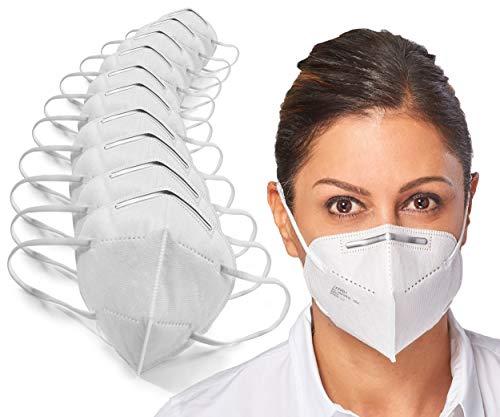 [10 Stück] 5-lagige Mund und Nasenschutz Maske Atemschutzmaske Halbmaske mit 95% Filtration und Aluminium Nasen Clip