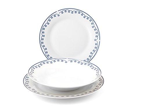 Royal Norfolk Agnes - Vajilla de porcelana, color blanco y decoraciones, 12 unidades