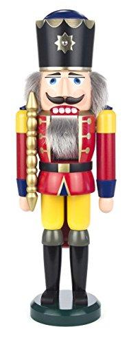 Seiffener Volkskunst | Nussknacker aus dem Erzgebirge | König mit Zepter 39 cm | Nussknackerfigur Deko Figur | Original Erzgebirgische Volkskunst | 11201/1 | rot
