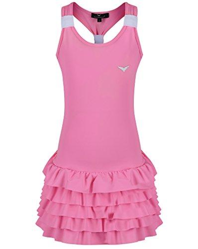 Bace Vestido de tenis rosa y blanco con ropa interior para niños, vestido de tenis para niños, vestido de netball, vestido de golf (9-10 años)