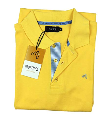 Futbolkit Martin's Herren-Poloshirt mit Tasche, modisch 100% Piqué-Baumwolle., gelb, XXXL