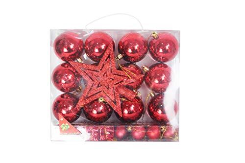 ELAELA Conjunto 29 pcs Decoracion para arbol de Navidad Bolas de Navidad para Decorar el arbol de Navidad (Rojo)