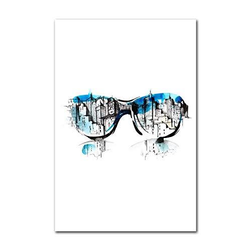 YuanMinglu Nordic Poster Vintage Brille Kamera leinwand malerei Moderne Dekoration abstrakte aquarell Landschaft wandkunst Bild rahmenlose 30x40 cm