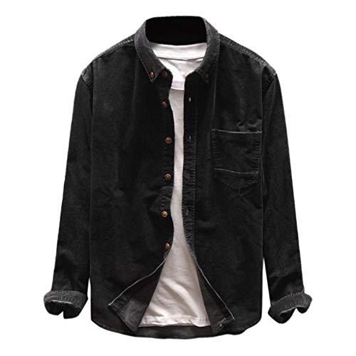 YIHANK Herren Frühling Herbst Mode Shirts Mantel Freizeitjacke Langarm Solid Tops Cord Jacke Blouson