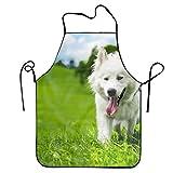 スイス羊飼いの芝生白い夏の犬バーガーエプロン 完全防水 防汚 首掛け 便利な調節 女性用 ワンサイズ 水回り 保育士 料理 作業用