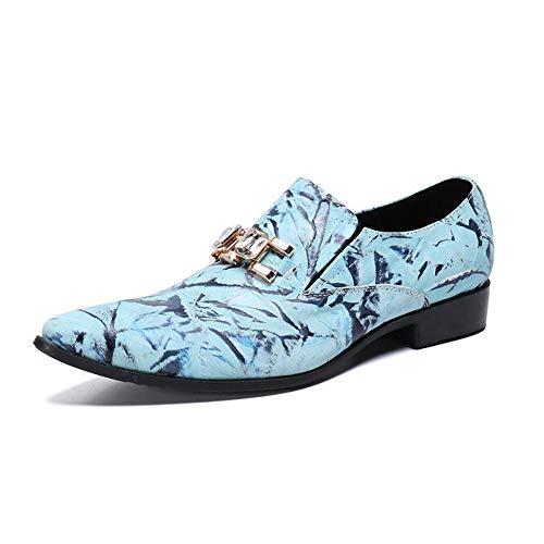 WLGC herenschoenen, zomer lage hak nachtclub flat schoenen sociale jeugd Britse trend kapper blauw kleine schoenen