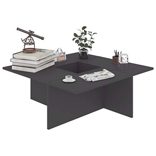 pedkit Couchtisch mit geometrischer Form Beistelltisch Wohnzimmertisch Kaffeetisch Sofatisch Grau 79,5x79,5x30 cm Spanplatte