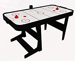"""4' 6"""" folding air hockey table Electronic scorer High gloss playing surface folds for easy storage pucks and pushers supplied with UK plug """"4' 6"""""""" folding air hockey table"""" electronic scorer high gloss playing surface folds for easy storage pucks and..."""