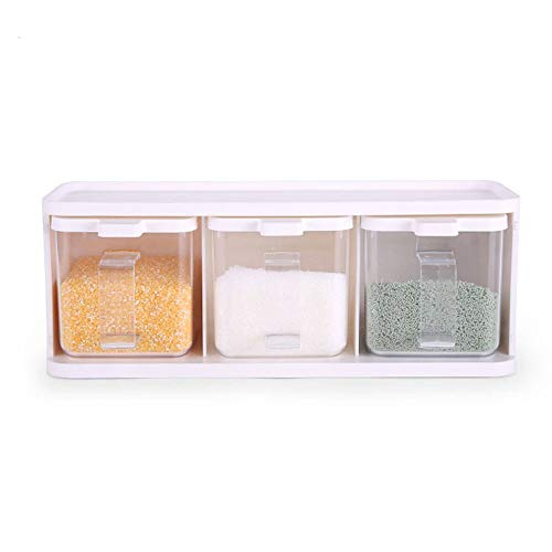 LULUVicky Botella de condimento de plástico para especias de 12 cm de longitud, caja de condimentos multiusos de tres piezas, almacenamiento vertical de condimentos de cocina