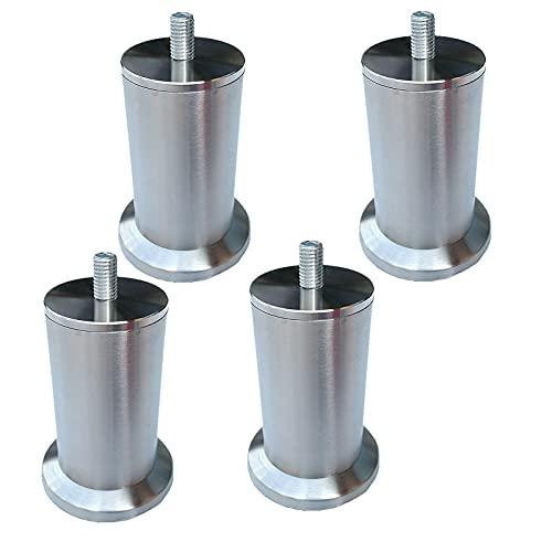 4 pies de mueble pies para mueblesPatas de muebles Base de mesa de acero inoxidable plateado,Pies de armario de metal,pies de sofá,pies de cama,M8,material más grueso (22.5cm)
