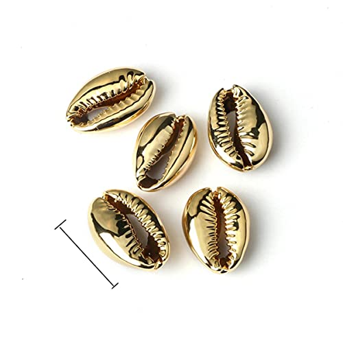 Electroplate Shell Beads Boho Natural Seashells Bead Conches Cowries Charms para bricolaje, collar, pulseras, fabricación de joyas, oro, 1,6-1,8 cm, China, 50 piezas