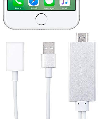 Callstel HDMI-Adapter für kompatibel mit iPhone und iPad, USB-Stromversorgung, 1080p-Video