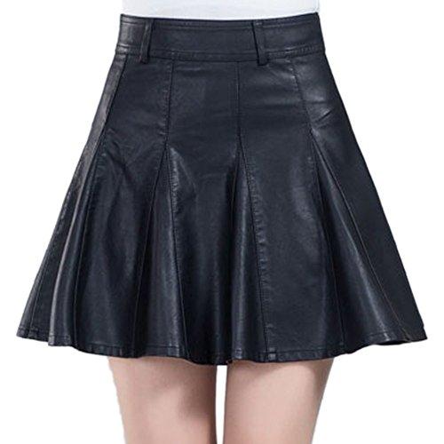 HAHAEMMA Femme Mini Jupe Plissée Courte Classique Mode Hiver de Cuir PU Sexy et Elégant Ladies Jupe Taille Haute avec Le Zip Latéral