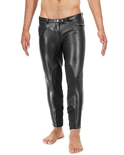 Bockle Rider Stretch Pants Tube Skinny Slim Fit Stretti Pantaloni di Pelle Pantaloni da Uomo in Pelle Uomo Jeans Pantaloni in Vera Pelle, Size: W34/L36