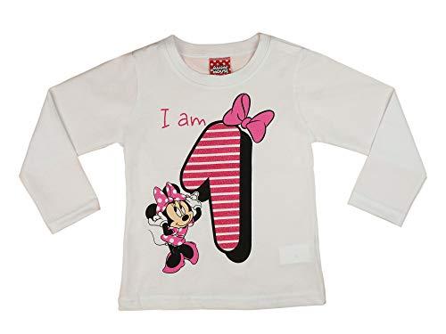 Mädchen Baby Kinder erster Geburtstag T-Shirt 1 Jahr Baumwolle Birthday Outfit GRÖSSE 86 Minnie Mouse Disney Design Glitzer Weiß Rosa Babyshirt Oberteil Farbe Rosa