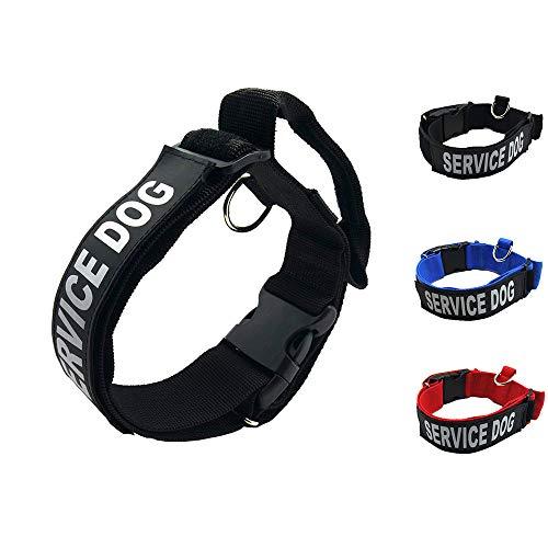 Homiego K9 Service Hundehalsband, verstellbares Nylon Hundehalsband mit reflektierendem Service Dog Patch für kleine mittelgroße große Hunde, L, schwarz