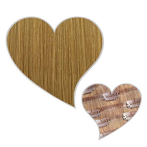 GLOBAL EXTEND® Clip in Extensions nahtlos chai-blond#15 40cm 150g Volume Seamless Clips aus 100% Echthaar Haarverlängerung nahtlose Haarclips Haarverdichtung Real Human Hair