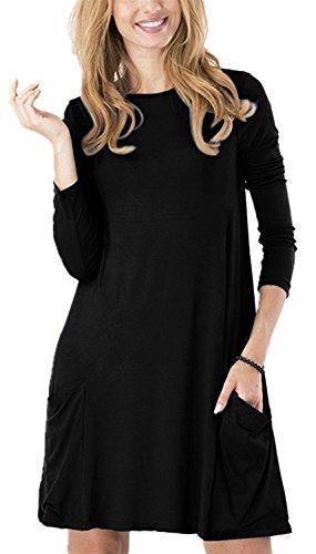 TINYHI Women's Pockets Casual Swing Scoop Neck T-Shirt Tunic Loose Dresses(Black,L)