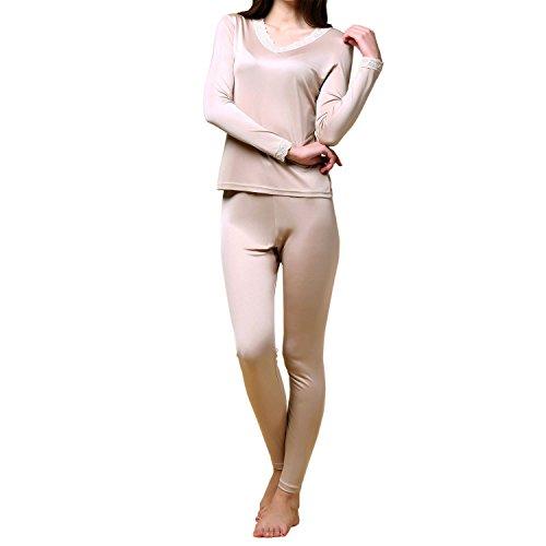Paradise Silk Pure Silk Knit Women Double Jersey Lace V Neckline Long Johns Set[US14,Beige]
