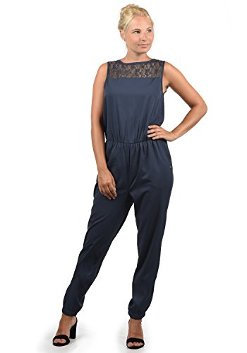 BlendShe Amor Damen Jumpsuit Overall Einteiler Mit Spitze Und Rundhals-Ausschnitt, Größe:S, Farbe:Mood Indigo (20064)