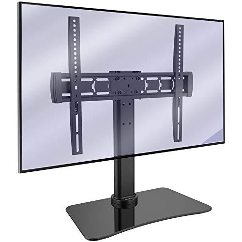 Invision TV Standfuss TV Ständer Neigung und Schwenken für 32-55 Zoll OLED LCD Flach & Curved Fernseher - Max. VESA 400x400mm - Max. Gewicht 40kg - 8mm Sockel aus Gehärtetem Glas [RS400 ScreenStation]
