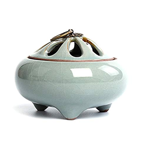 JOYOTER Tazón de incensario Redondo de sándalo de Porcelana Estatuilla de incensario de Templo 3 pies Quemadores de Incienso de Torre de Bobina de cerámica