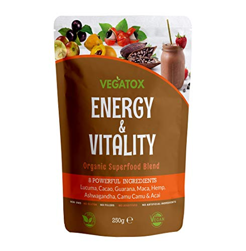 Energy & Vitality Powder 250g | Energy Powder Boost | Superfoods for Energy and Vitality | Organic, Vegan and 100% Natural | No Additives, No GMO, No Gluten, No Fillers