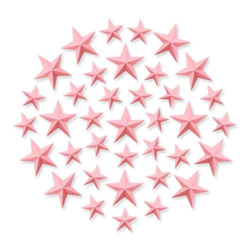 Luxbon 30 Stück 3D Sterne Wandtattoo für Kinderzimmer Wandsticker Sterne Aufkleber mit Klebepunkten Baby Sternenhimmel Wanddeko Pink