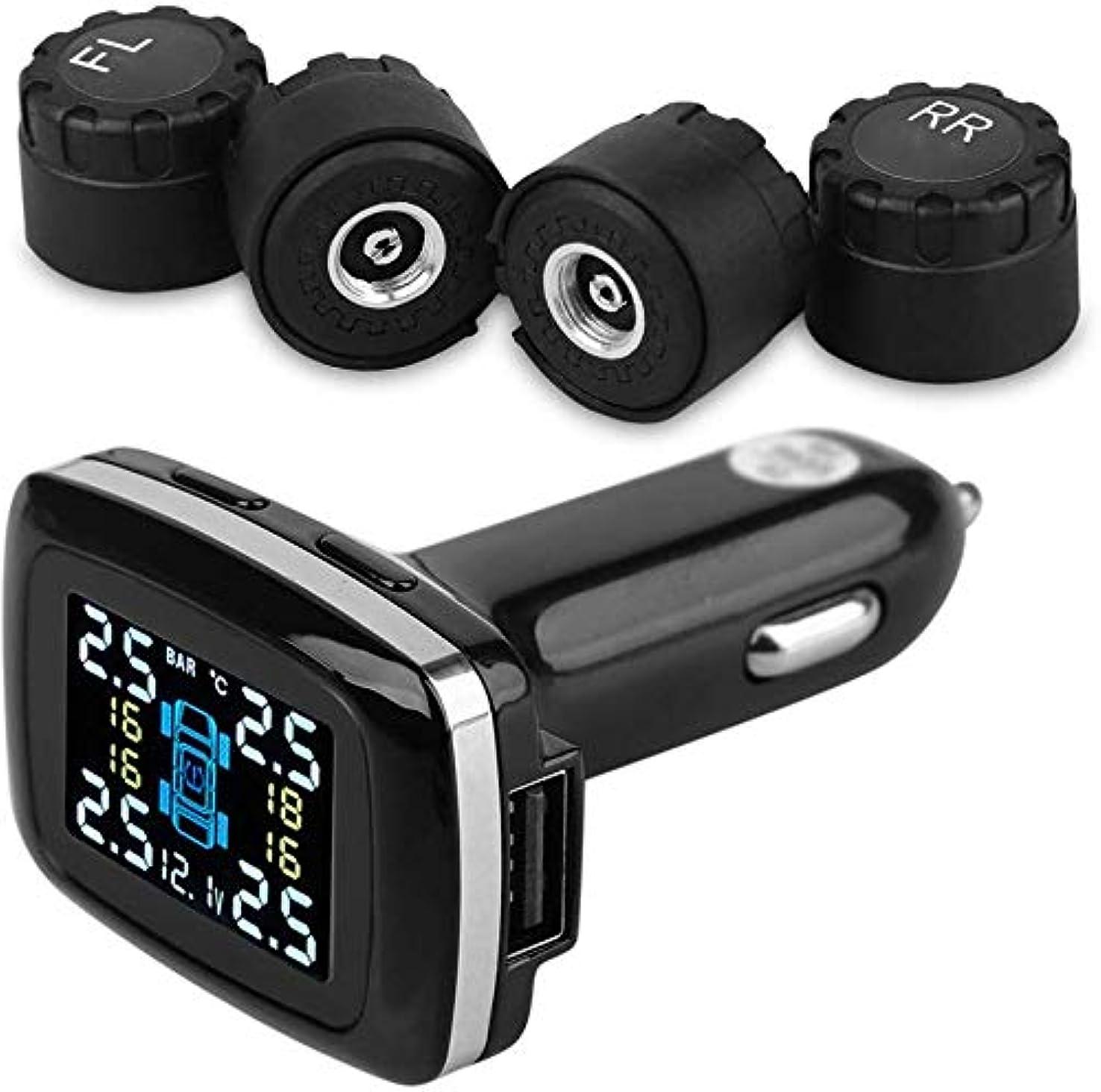電極テーマ広げるポータブルエアコンプレッサー USBワイヤレスシガーライターリアルタイム液晶車のタイヤの圧力計、メーター、オートバイの車SUVのために使用されるTPMSタイヤ検出器を監視するタイヤ空気圧 (Color : -, Size : -)