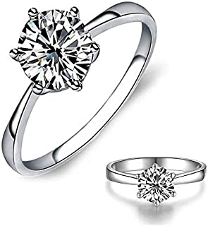 Classic Solitaire Diamond Ring Promise Engagement Wedding Rings for Women