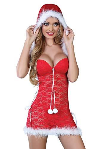 Selente Love & Fun luxuriöses mehrteiliges Damen Dessous-Set in raffiniertem Weihnachts-Design, mit Satin-Augenbinde Made in EU, Kapuzen-Negligee-Tanga, Gr. L/XL