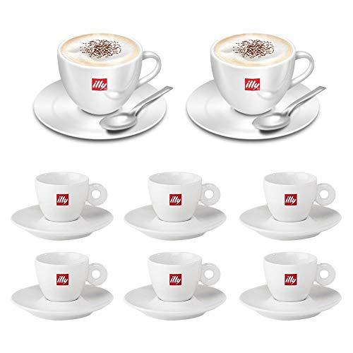 illy 6 Tazzine Caffe Porcellana e 2 Tazze Cappuccino con piattino