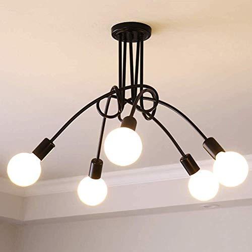 HLL Candelabro, candelabro de techo moderno Sputnik, iluminación de 5 luces Candelabro de mediados de siglo durante la luz Lámpara de techo negra para pasillo Bar Cocina Comedor Negro 5 cabezas