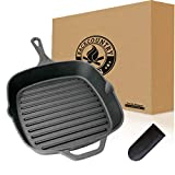 Backcountry Cast Iron 10' Medium Square Grill Pan (Pre-Seasoned for Non-Stick Like Surface, Cookware...