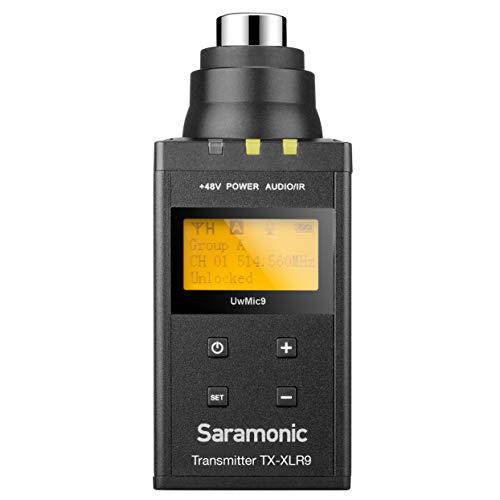 Saramonic TX-XLR9 - Transmisor XLR enchufable para el sistema de micrófonos inalámbricos UHF Digital UWMIC9, color negro