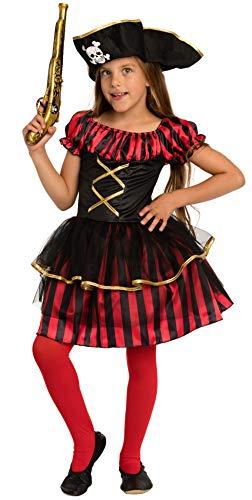 Magicoo Piratenlady Piratenkostüm Kinder Mädchen Gr 110 bis 140 inkl. Piratenkleid & Hut - Fasching Kostüm Piratin (122/128)
