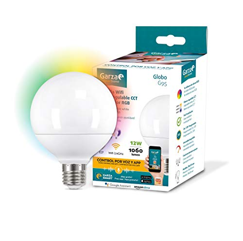 Garza ® Smarthome - Bombilla LED Globo G95 Intelegente Wifi E27, luz blanca neutra regulable con cambio de intensidad, temperatura y color. Programable, compatible con Amazon Alexa y Google Home.
