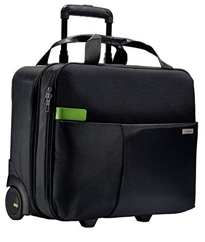 Leitz, Business Softcase Handgepäck-Trolley, Smart Traveller, 17 Fächer, 44 x 37,5 x 23 cm, Polyester/Metall/Leder, Complete, Schwarz, 60590095