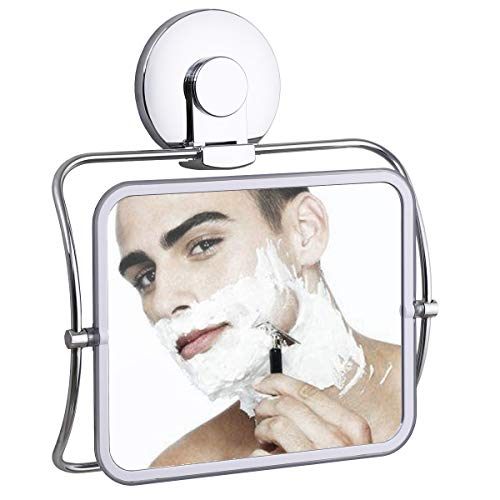 SWAMTIK Shower Mirror Fogless for Shaving 360 Degree Swivel ,Removable Fogless Shower Mirror Waterproof Rust-Resistant,Bathroom Hanging Mirror for Man and Woman NO-Drilling —— Chrome